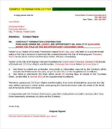 Sample Letter Of Termination Of Contract Contract Termination - examples of termination letters