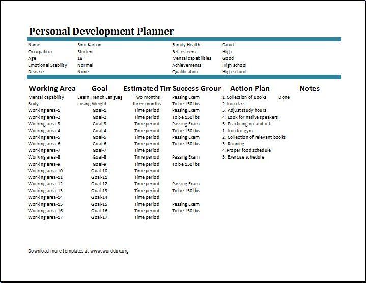 Personal Development Plan Template   Word Document Templates  Free Personal Development Plan Template