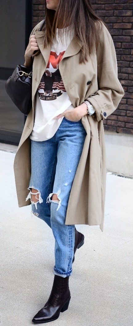 brown coat, white shirt, blue jeans, and pair of black leather shoes
