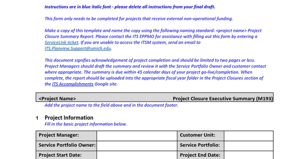 Doc#600730 Project Summary Report Sample u2013 8 Project Summary - project closure report template