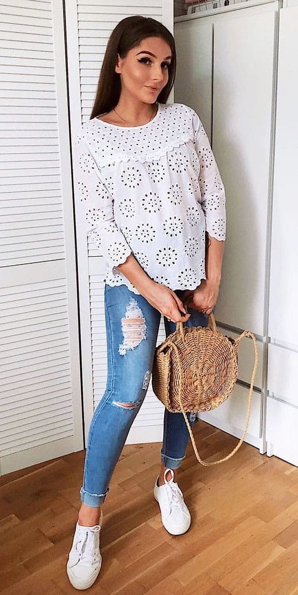 white long-sleeved top and blue distressed jeans #spring #outfits