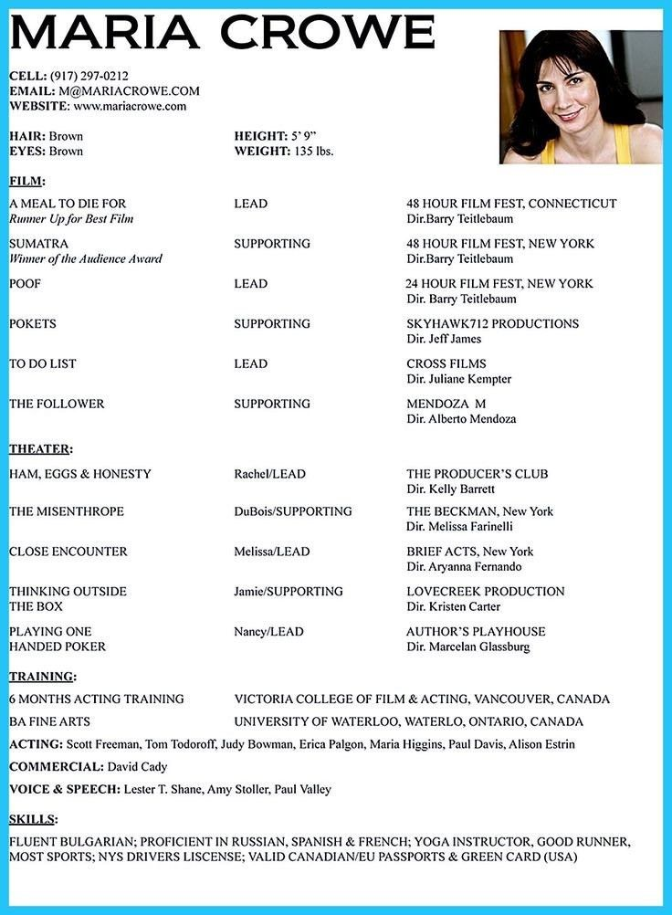 Sample Audition Resume Sample Acting Resume Acting Resume - theatrical resume format