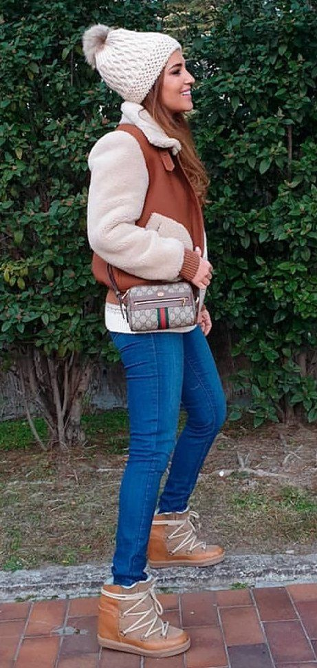 brown and beige jacket #spring #outfits
