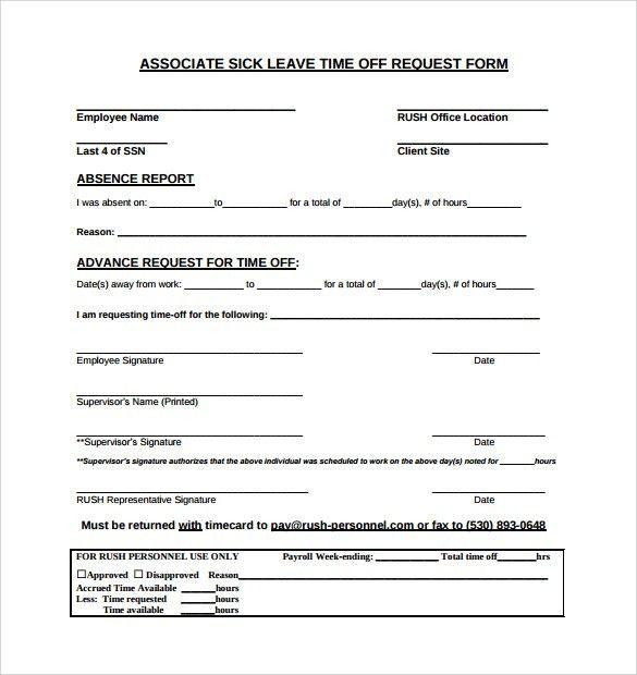Sick Leave Request Sample Sick Leave Application Sample For - leave application form for employee