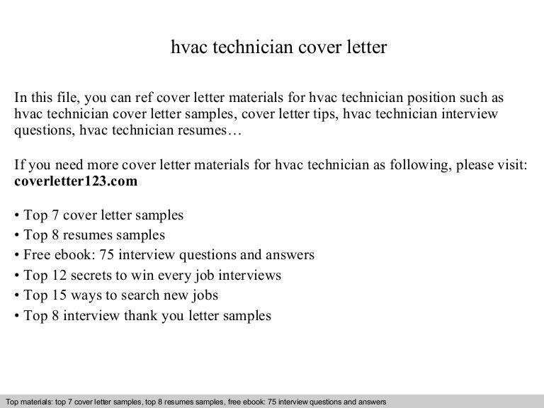 ... Sample Hvac Resume Cover Letter   Wind Technician Cover Letter ...