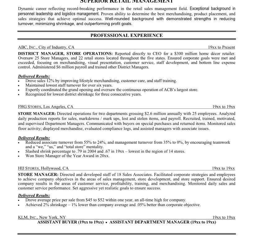 District Manager Resume Sample District Manager Resume Cv