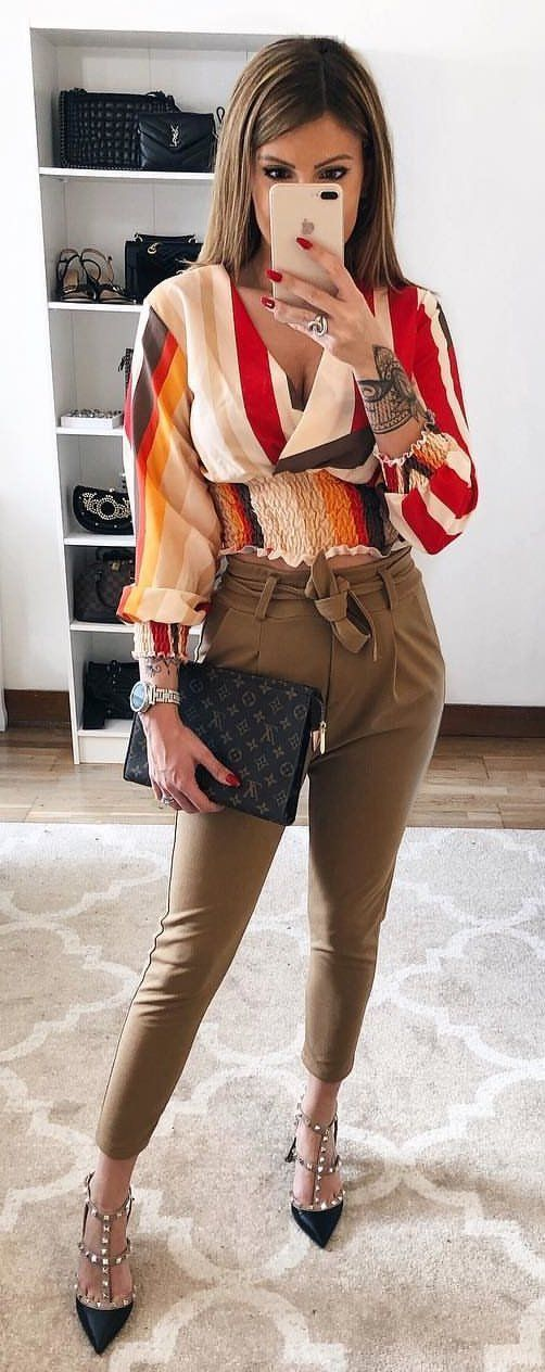 red and brown blouse #spring #outfits