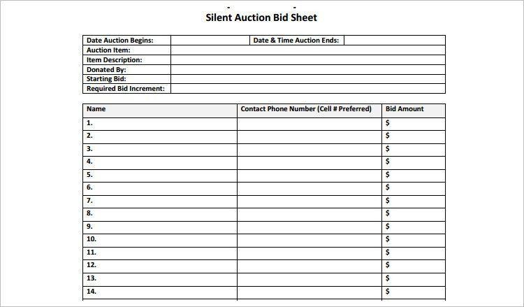 Bidding Template Bid Proposal Template 6 Best Proposal Examples - sample silent auction bid sheet