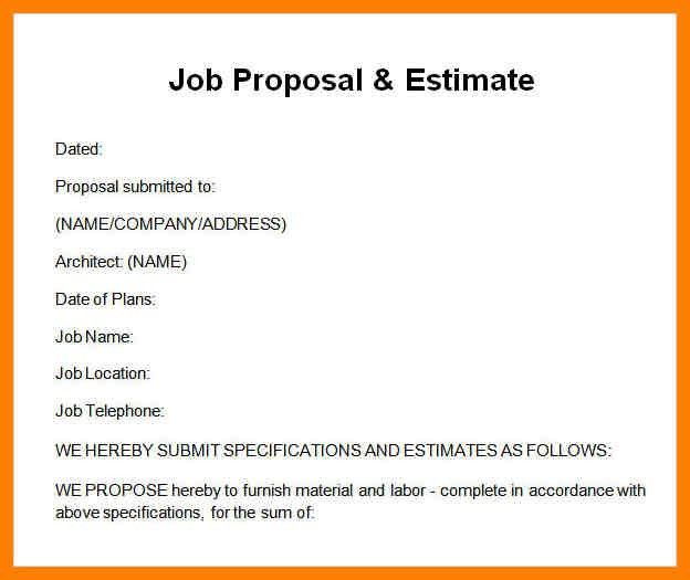Job Proposal Sample Sample Job Proposal Template 6 Free Documents - work proposal