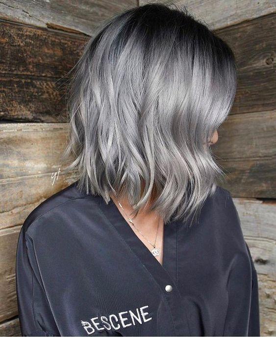 Cute grey short hair color trend