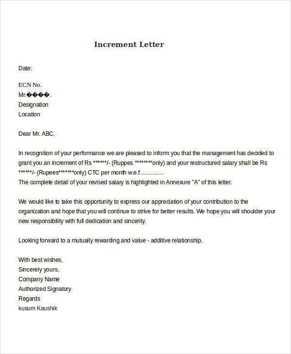 Sample Increment Letter Download Sample Request Letter For Salary - requisition letter sample