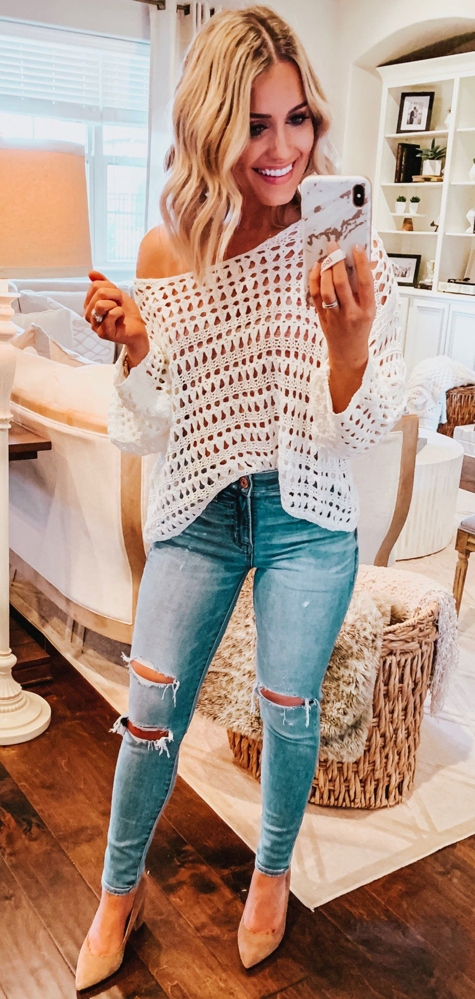distressed blue denim jeans #spring #outfits