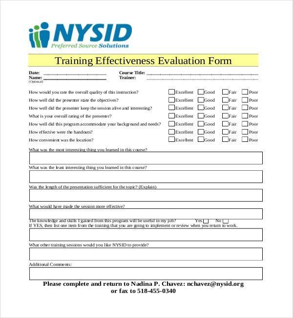 Training Evaluation Forms Templates Training Evaluation Form 15 - training assessment form