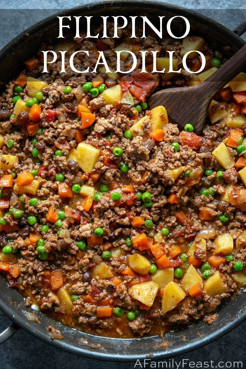 Filipino Picadillo is a delicious, one-skillet dinner made with ground beef, potatoes, raisins and vegetables in flavorful sauce.