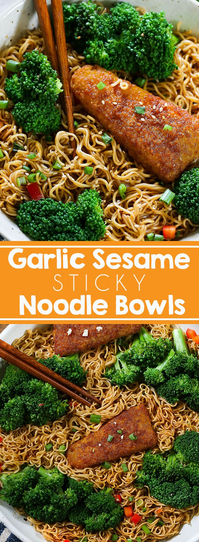 Garlic Sesame Bowls - Easy, 25-minute garlic sesame noodles with crunchy fish. Simple Asian recipe for a busy weeknight dinner. AD #asianbowl #garlicsesame #pasta #chinesefood