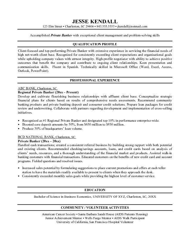 In Store Banker Resume Resume Format Entry Level Entry Level - investment banking resume template