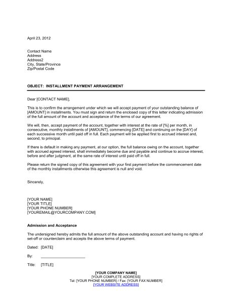 Monthly Payment Contract Template Installment Payment Agreement - payment agreement contract