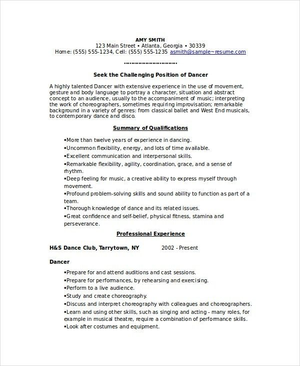 Dance Resumes Examples Dancer Resume Samples Visualcv Resume