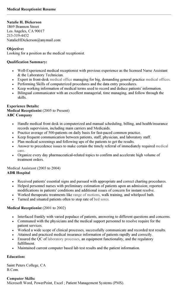 Objective For Medical Receptionist Image For 20 Medical Secretary - medical support assistant resume