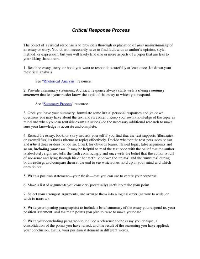 Critical Response Essay Format Download Critical Response Essay Response  Essay   Essay Response Format
