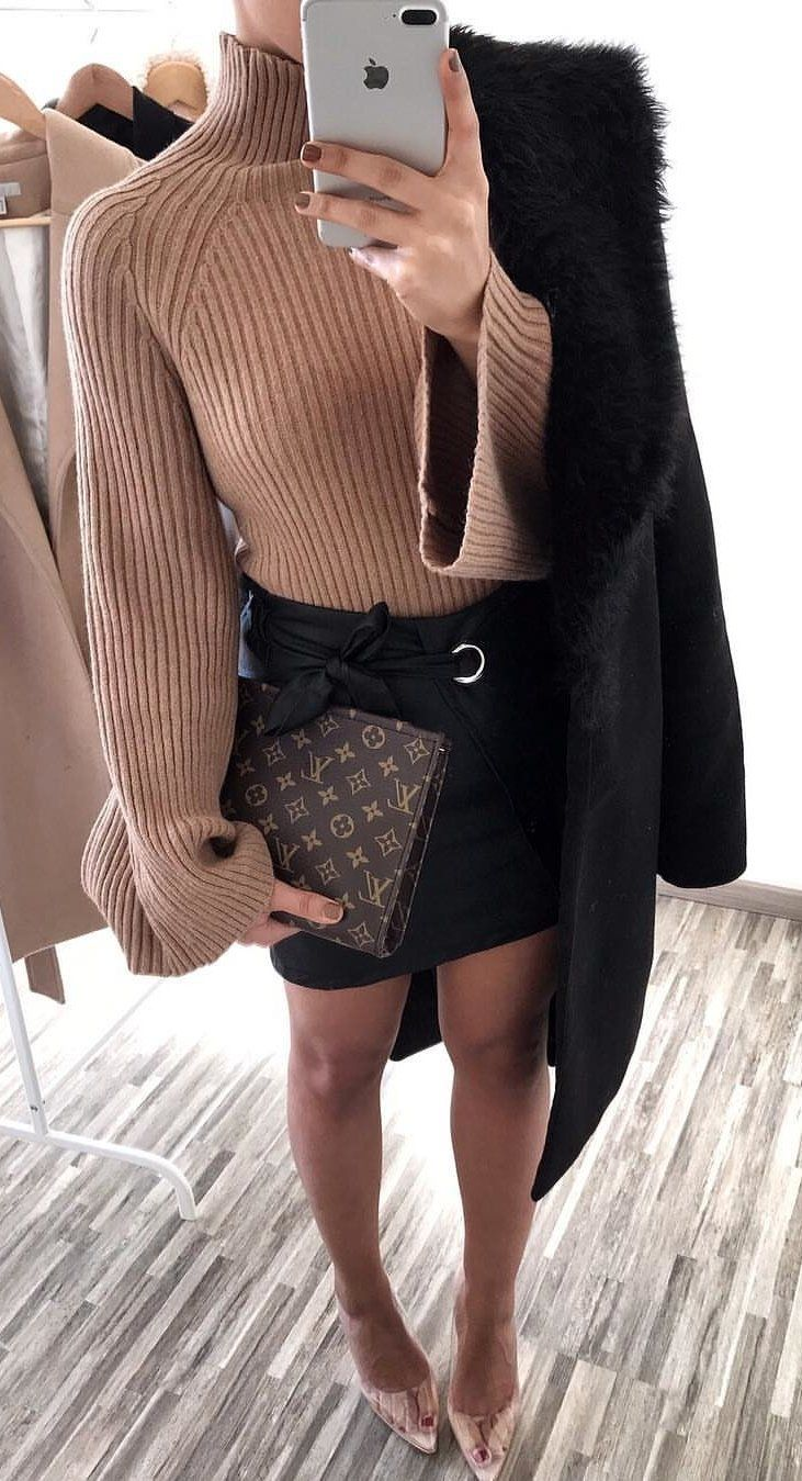 brown turtleneck long-sleeved shirt #spring #outfits