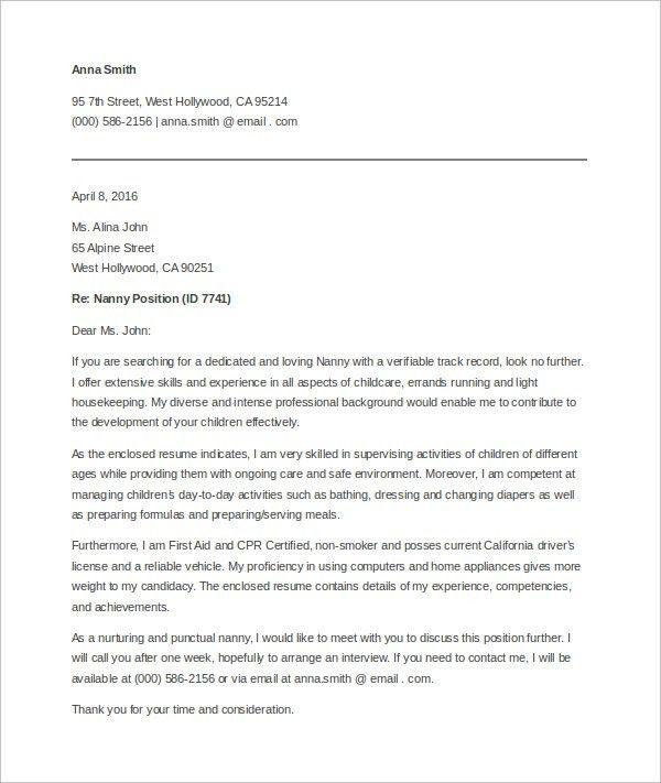 Child Care Nanny Cover Letter Sample