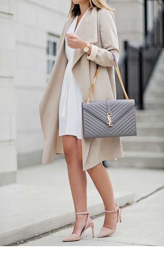 White dress, coat and grey bag
