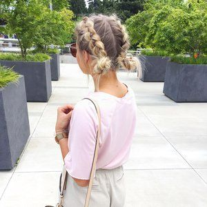 Double dutch braid into buns, #easy hairstyle for summer. #WomensHairstylesMediumShag