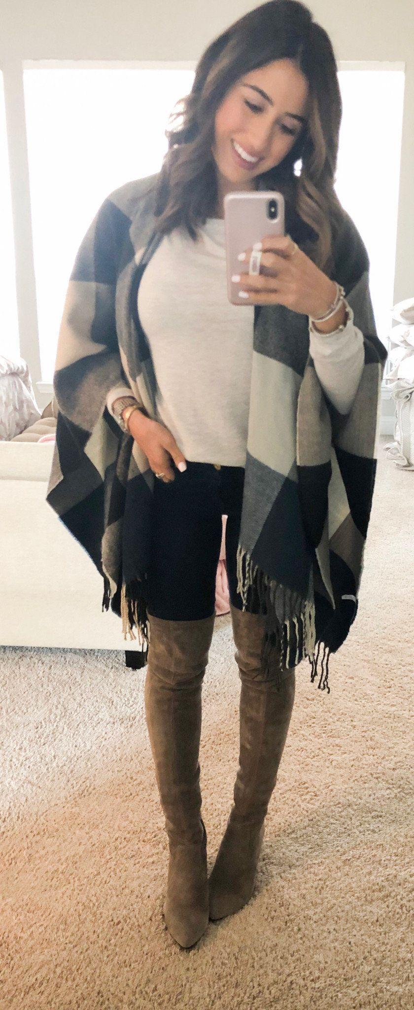 black and gray gingham shawl