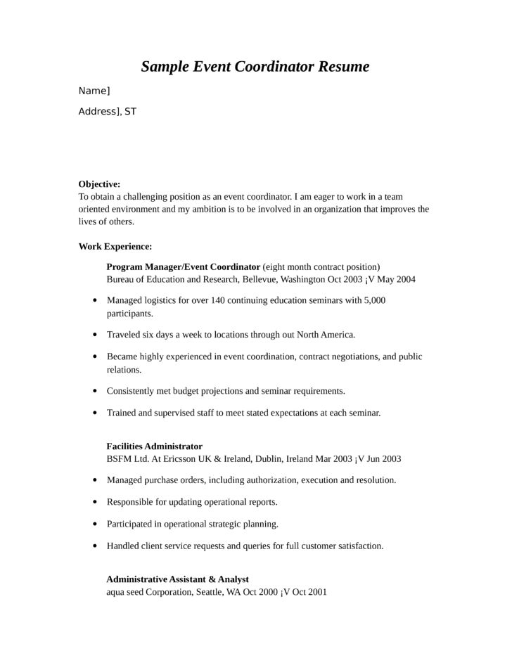 sample special events coordinator resume radiovkm