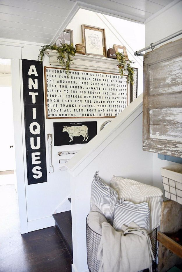 Easy DIY Farmhouse Style Decor Ideas - Farmhouse Style Staircase Gallery Wall - Rustic Ideas for Furniture, Paint Colors, Farm House Decoration for Living Room, Kitchen and Bedroom #diy