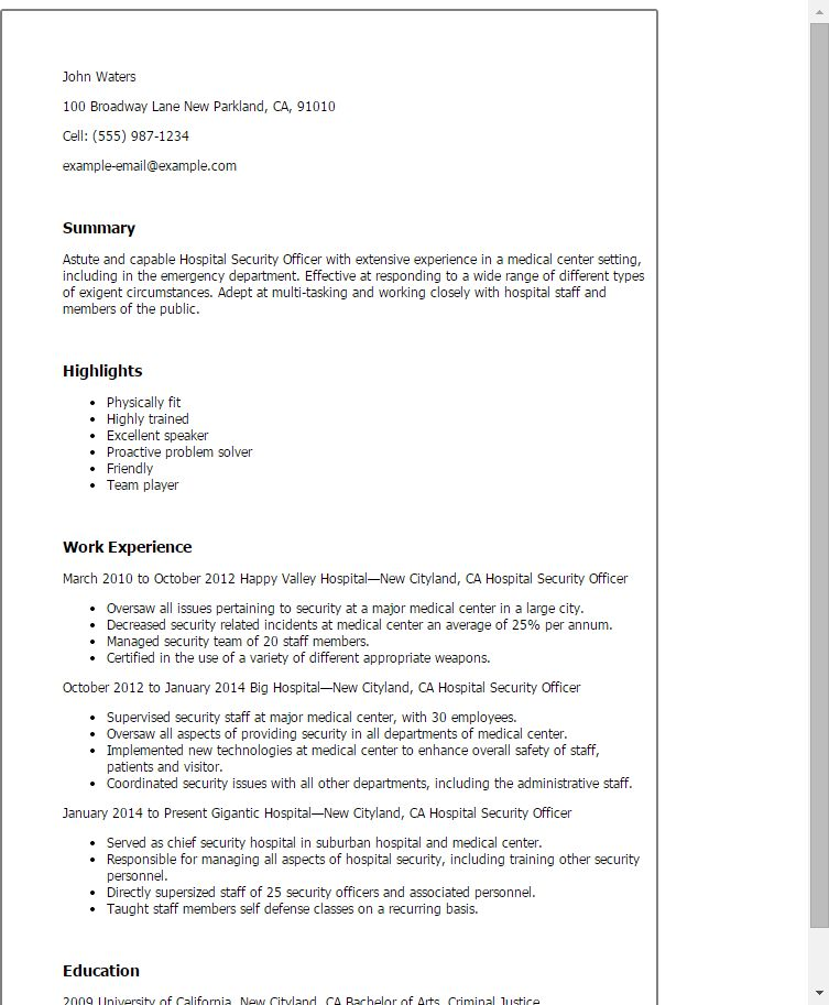 Static Security Officer Sample Resume madebyrichard - chief security officer sample resume