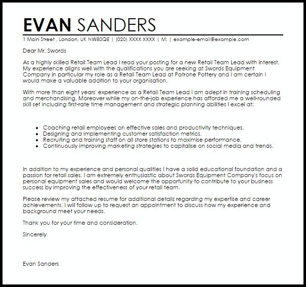 Hr team leader cover letter