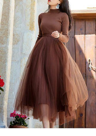 Brown blouse and tulle skirt