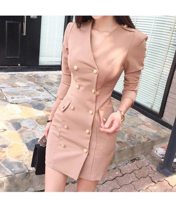I like this beige blazer dress