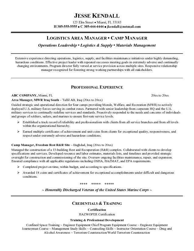 Logistics Resume Objective Examples  Examples Of Resumes