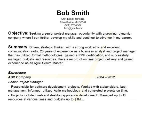 resume career goals examples resume cv cover letter - Objective Section In Resume