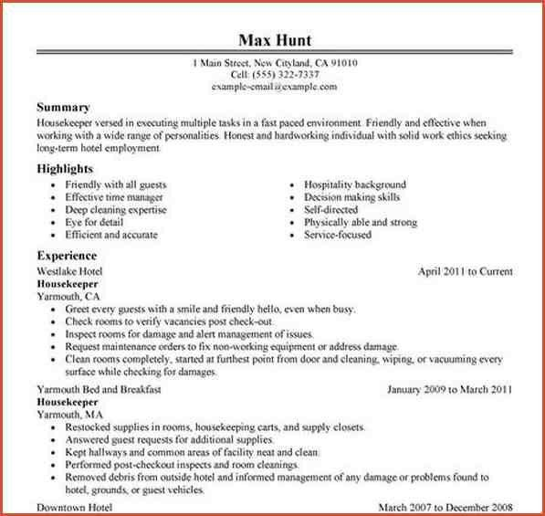 Sample Resume For Housekeeper Unforgettable Housekeeper Resume - resume for housekeeping