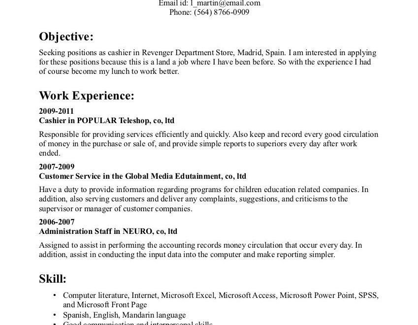 grocery store cashier resumes
