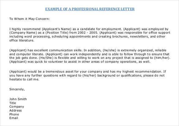 Sample Employee Reference Letter Format Sample Reference Letter - letter of reference sample