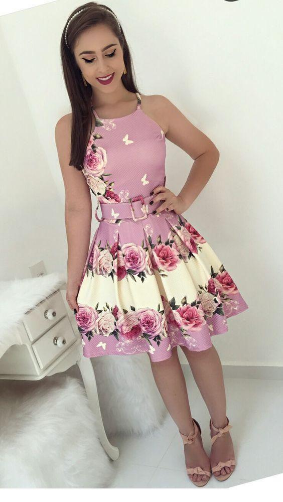 Sweet pink floral short dress design