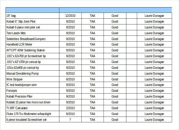 Inventory List Sample Sample Inventory List 11 Free Word Excel - inventory list form