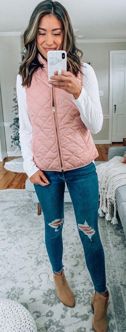 pink zip-up vest