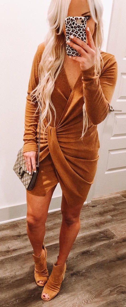 brown and black long sleeve dress #winter #outfits