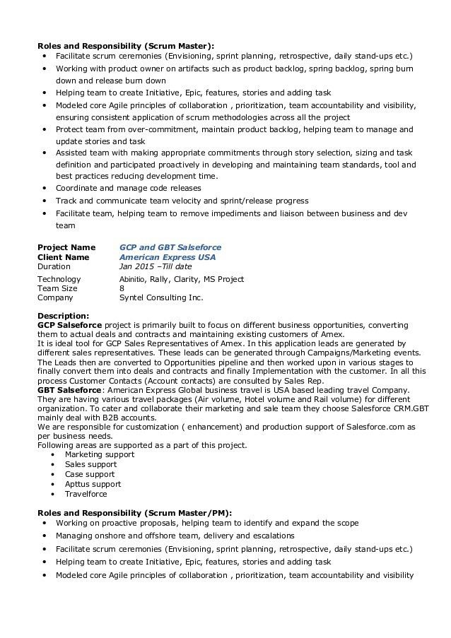 scrum master resume example resume sample