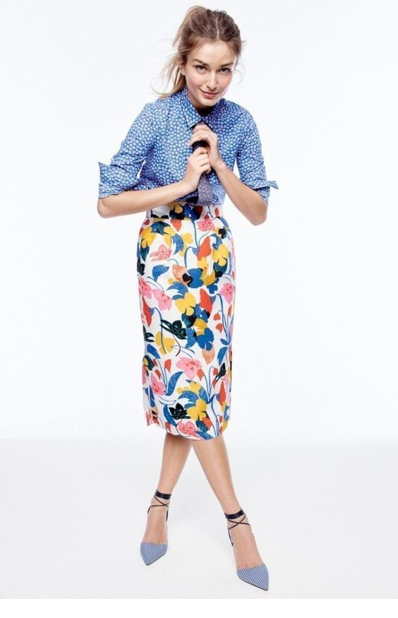 Blue shirt and printed skirt
