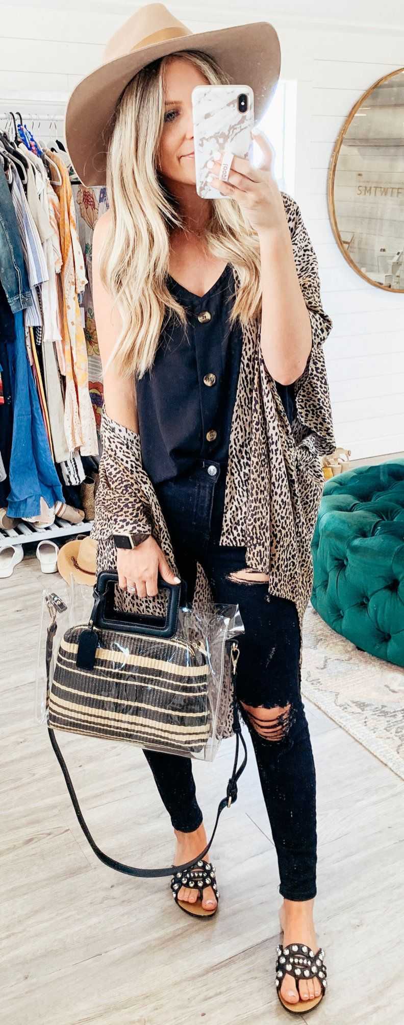 brown and black cardigan #summer #outfits