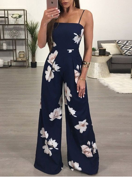 Nice navy jumpsuit with flowers
