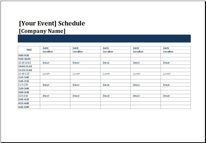 Event Timetable Template schedule of events template - event timetable template