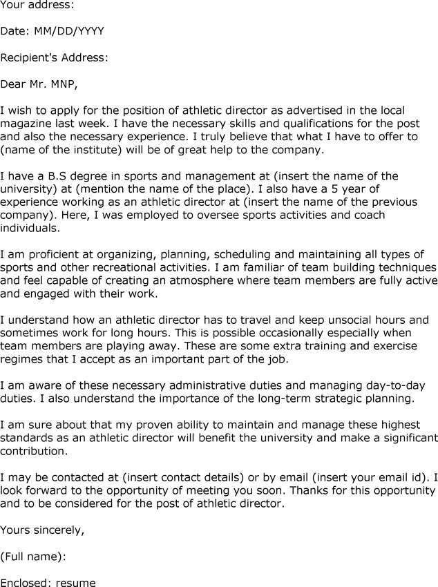 Athletic Director Cover Letter Template | Cover Letter